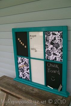 Old window memo centre: 2 panes each of magnetic, dry erase and fabric covered memo board. Really like this.