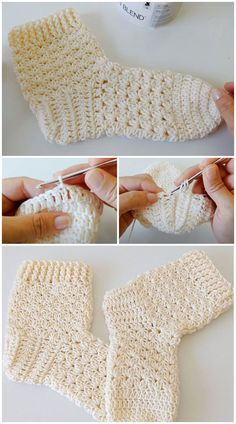 We are going to learn How to Crochet 2 Hours of House Socks. If you haven't ever made them, you may be surprised to discover that crochet socks are a really fun project. These Crochet House Socks will keep your feet toasty warm, but remember to either wear them on carpet or to add some kind of anti-skid bottom if you plan on using them on hard flooring. It might seem that a crochet pattern like this is a complicated endeavor for a beginner, but there are so many easy projects to try. All Free Crochet, Learn To Crochet, Crochet House, Crochet Slippers, Easy Projects, Arm Warmers, Crocheting, Crochet Patterns, Carpet
