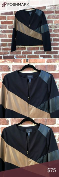 """Doncaster Collection Leather Jacket Size 10 Coat Doncaster Collection Jacket Size 10 Excellent condition Viscose and Leather color block jacket in brown and black Approx 23.5"""" long and 19"""" across armpits and 15.5"""" across shoulders Doncaster Jackets & Coats"""