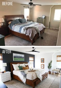 An amazing master bedroom makeover. This natural and modern style literally transformed this bedroom. Make sure to see all of the before and after shots too! bedroom colors Master Bedroom Makeover - Thriving Home Master Suite, Small Master Bedroom, Master Bedroom Makeover, Master Bedroom Design, Home Decor Bedroom, Bedroom Red, Bedroom Designs, Bedroom Makeover Before And After, Bedroom Makeovers