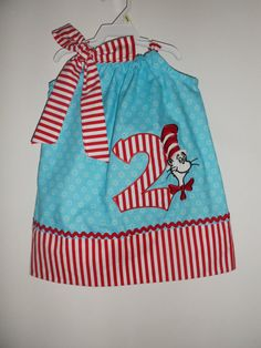 Dr. Seuss Cat In The Hat  Birthday Pillowcase Dress