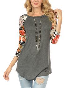Look at this Charcoal Floral-Sleeve Tunic - Plus on #zulily today!