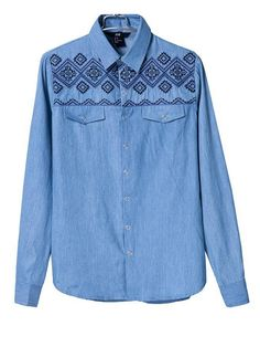 Folk style jeans embroidery stitching slim long sleeved shirt