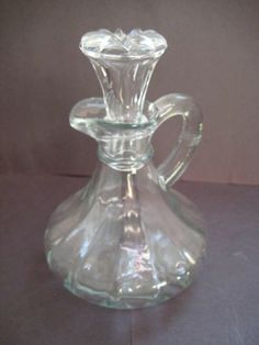 Vintage Anchor Hocking #Cruet Clear Glass Bottle Original Stopper