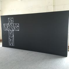 14ft wide modern look backdrop for a portable church. Sets up in 3 minutes.  packs small.  Simple and bold!    #portablechurch   #buildachurch    http://www.showbackdrops.com/27-portable-backdrop-systems