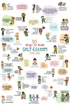 50 Ways to Help Kids Build Self-Esteem. Poster, fun school counseling lesson, and fortune teller activity. 50 Ways to Help Kids Build Self-Esteem. Poster, fun school counseling lesson, and fortune teller activity. Education Positive, Education Galaxy, Texas Education, Kids Education, Kids Mental Health, Building For Kids, Social Emotional Learning, Coping Skills, Life Skills