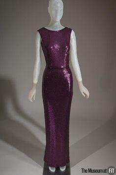 Evening dress  Designer: Norell 1900-1972  Medium: Purple silk jersey, purple sequins Date: c.1965