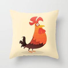 It's Time, Rooster! Throw Pillow by Cartoon Being on Society6 @society6 #society6 #art #rooster #throw #pillow #buy #shop #home #decor #fun #cute #sweet #barn #yard #barnyard #farm #whimsical #illustration #drawing #digital #bird #fowl #red #yellow #analogous #black #brown #cool #funny #fun