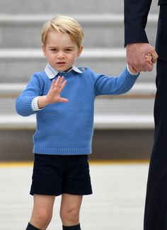 Prince George arrives at Victoria Airport ahead of the Royal Tour of Canada. (Photo by Karwai Tang/WireImage)  via @AOL_Lifestyle Read more: http://www.aol.com/article/2016/09/24/kate-william-george-charlotte-arrive-royal-tour-canada/21478599/?a_dgi=aolshare_pinterest#fullscreen
