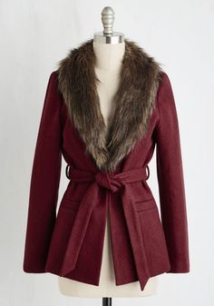 True to Warm Coat. Its just like you to complete your look with the cutest outerwear around! #red #modcloth