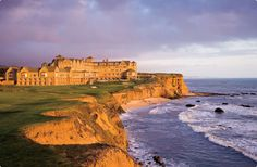 Ritz Carlton in Half Moon Bay, California. This is the location for the wedding in American Pie 3, American Wedding.  It's gorgeous.  I am now obsessed with it.