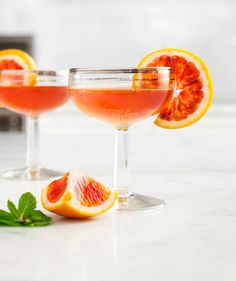 Blood Orange & Bourbon | Love & Lemons | this is definitely a favorite of mine, I freeze the blood orange (and tangelo, grapefruit, lime and lemon juice) in ice cube trays and blend it in cocktails later.
