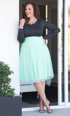 Curvalicious Clothes    Plus Size Bottoms    Twirling in Tulle Skirt - Mint  To d828616e18