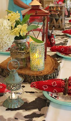 Table Centerpieces • Lanterns • Mason Jars • Tree Stumps | Cowboy Baby Shower | South Texas wedding & event planning