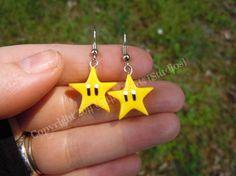 Nintendo Invincibility Star Earrings by UntilItEndsStudios on Etsy, $7.99