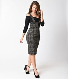 Collectif 1950s Grey Plaid Cotton Stretch Natalia Pencil Suspender Skirt