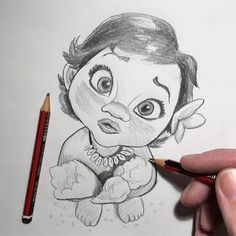 Drawing is one of those creative arts that can be improved by regular practicing. So start with easy cartoon characters to draw as cartoons are some of the Moana Sketches, Disney Drawings Sketches, Disney Character Drawings, Cute Disney Drawings, Disney Princess Drawings, Cute Drawings, Drawing Sketches, Easy Cartoon Drawings, Cartoon Sketches