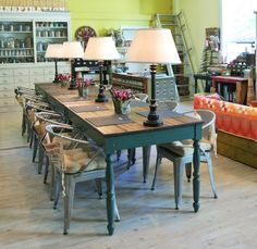 inspired barn, metal chairs with farm table, plank floor