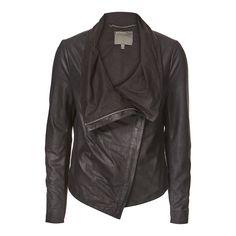 Black Sinoia Drape Front Leather Jacket - Muubaa - Private sales | BrandAlley