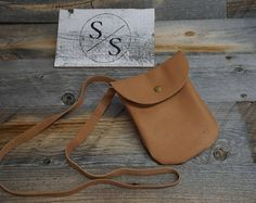 Soft Carmel colored Leather Pouch with long strap / snap closure ~ Phone and ID Bag