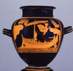 An Attic red-figure stamnos from Vulci c. 480-450 BCE depicting the myth of Odysseus tied to his ship's mast in order to resist the enchanting song of the Sirens. The episode occurs during the hero's long voyage home to Ithaka following the end of the Trojan War. Interestingly, the vase shows one Siren descending into the sea which possibly references the legend that the Sirens would die if any sailors ever successfully escaped their clutches. (British Museum, London).