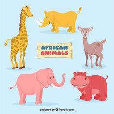 Set of lovely african animals Free Vector
