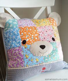 A Sweet Bear Pillow by @SameliasMum Machine and hand quilted. Pattern by @nanacompany