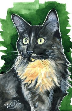 Lola - Long Haired Tortoiseshell Cat Portrait Watercolor cat Painting by Dora Hathazi Mendes. Cats of Karavella Atelier