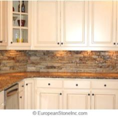 Faux rock backsplash - saw this used on I Hate My Kitchen. Looks easy enough :-)