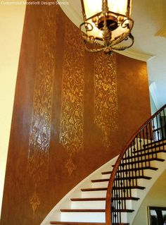 Decorate your stairwell with customized Modello® Designs via Debbie Hayes   Paint + Pattern (Modello Designs custom vinyl stencils by Royal Design Studio)