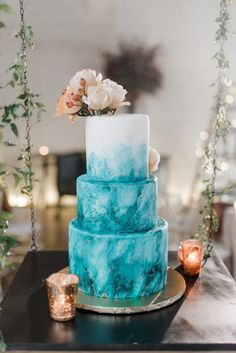 Teal wedding cake: Hip Eclectic Wedding Inspiration from Sky's the Limit Photography featured on Burgh Brides. Find more creative wedding ideas at Creative Wedding Cakes, Wedding Cake Designs, Wedding Cupcakes, Teal Wedding Cakes, Teal Wedding Decorations, Teal Centerpieces, Different Wedding Cakes, Centerpiece Ideas, Cupcake Torte