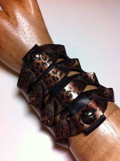 Twisted Glad  Gladiator Style Glossy Copper Leopard Leather Cuff by DejaLaVogue, $42.00