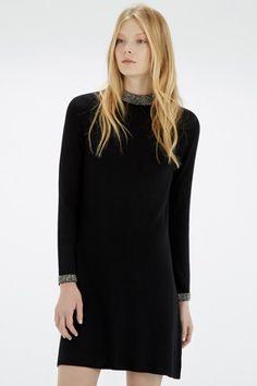 Clothing | Black EMBELLISHED NECK & CUFF DRESS | Warehouse