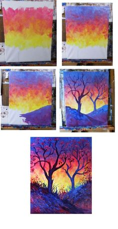 1001 ideas and techniques to create an easy watercolor painting 1001 id es et techniques pour r aliser une peinture l aquarelle facile natural watercolor landscape depicting a tree and a beautiful sky at sunset Easy Canvas Painting, Painting & Drawing, Canvas Art, Canvas Paintings, Diy Canvas, Diy Painting, Painting Walls, Painting Trees, Heart Painting