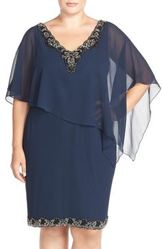 J Kara Beaded Trim Chiffon Overlay Sheath Dress (Plus Size) available at #Nordstrom