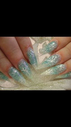 Stiletto winter nails. I would get these ballet slipper shaped.