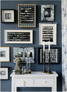 25 unique #gallerywall ideas from Just Imagine - Daily Dose of Creativity. I'm liking how the (wrapping paper?) overlays works so well with the wall color.