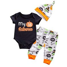 0ccaa05afa4b Emmababy Baby Boys Girls Christmas Romper My 1st Halloween Bodysuit and  Pants Winter Outfit (0