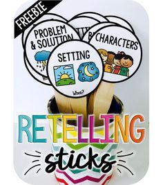 Retell stories using Retelling Sticks. This is a free resource that teachers can use as a fun activity for students to retell the main parts of a story. Comprehension Activities, Reading Strategies, Reading Skills, Teaching Reading, Reading Comprehension, Retelling Activities, Guided Reading Lessons, Story Elements Activities, Summarizing Activities