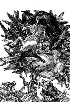 Grimsborken attacked by all wild creatures on the earth and of the air.