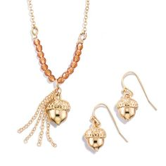 Go nuts for this adorably cute gift set! Goldtone necklace and earring set with an acorn pendant and matching earrings. Regularly $16.99, buy Avon Jewelry online at http://eseagren.avonrepresentative.com