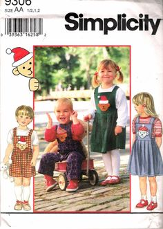 """1994 Simplicity 9306 Toddlers Separates Sewing Pattern Size AA 1/2, 1, 2 Breast 19"""", 20"""", 21"""" UNCUT by Recycledelic1 on Etsy"""