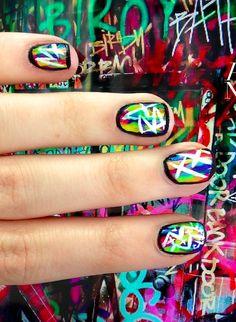punk-inspired: graffiti nails
