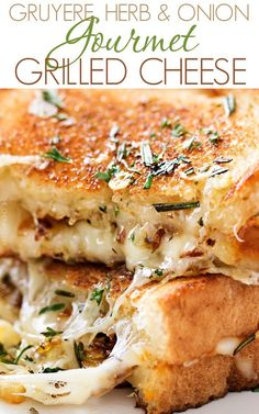 This gourmet grilled cheese is loaded with herbed caramelized onions, gooey gruyere and white cheddar cheeses, and is cooked in a savory rosemary butter! Grill Sandwich, Deli Sandwiches, Soup And Sandwich, Sandwich Recipes, Grilled Cheese Sandwiches, Vegan Sandwiches, Cheese Burger, Chicken Sandwich, Ultimate Grilled Cheese