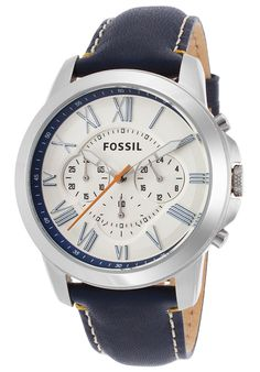 Fossil Men's Grant Chronograph Navy Blue Genuine Leather Ivory Dial - Watch FS4925,    #Fossil,    #FS4925,    #WatchesCasualQuartz
