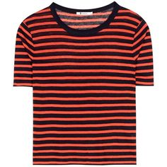 T by Alexander Wang Striped Jersey T-Shirt (185 AUD) ❤ liked on Polyvore featuring tops, t-shirts, red, red jersey, jersey t shirt, striped tee, striped tops and striped t shirt