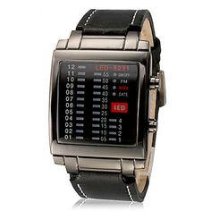 Le calendrier des hommes LED Digital cadran noir en cuir noir bracelet au poignet – EUR € 16.55