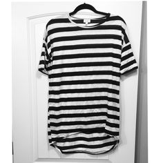 NWOT LuLaRoe Black and White Striped Irma XXS Worn once. EUC LuLaRoe Tops Tees - Short Sleeve