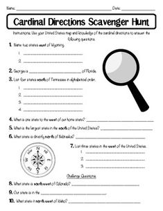 This Cardinal Directions Scavenger Hunt worksheet would also be a good assessment for the students to complete after learning about cardinal directions in relation to maps. PP