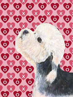 Dandie Dinmont Terrier Hearts Love and Valentine's Day House Vertical Flag